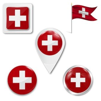 Stel pictogrammen nationale vlag van zwitserland