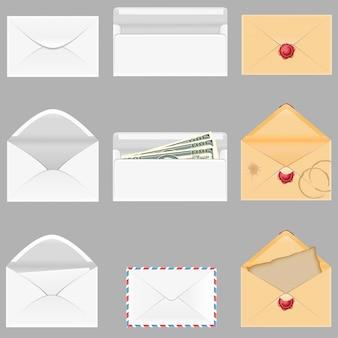 Stel pictogrammen papieren enveloppen vectorillustratie