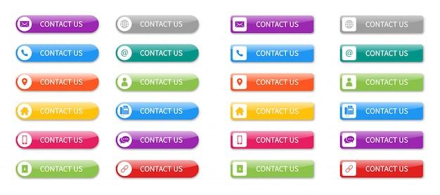 Stel pictogrammen van contact met ons op knop geïsoleerd.
