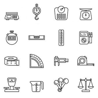 Stel pictogrammen van geïsoleerde meetinstrumenten