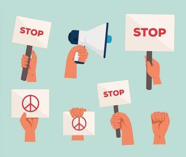 Stel pictogrammen van handen met borden en megafoon voor protest