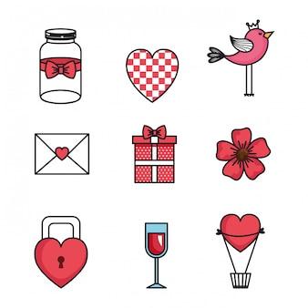 Stel pictogrammen van happy valentines day