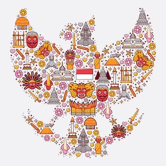 Stel pictogrammen van indonesië in de vorm van garuda