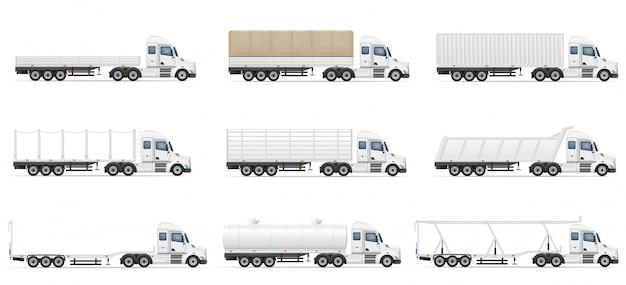 Stel pictogrammen vrachtwagens opleggers vectorillustratie