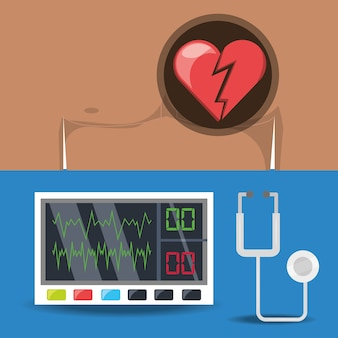 Stel pijn op de borst en electrocardigrafie machine in