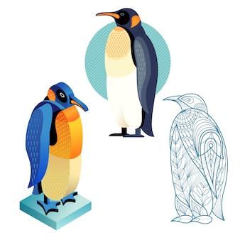 Stel pinguïnafbeelding in verschillende stijlen in.