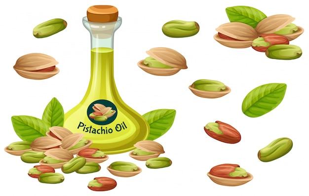 Stel pistache-olie, zaad en blad in.