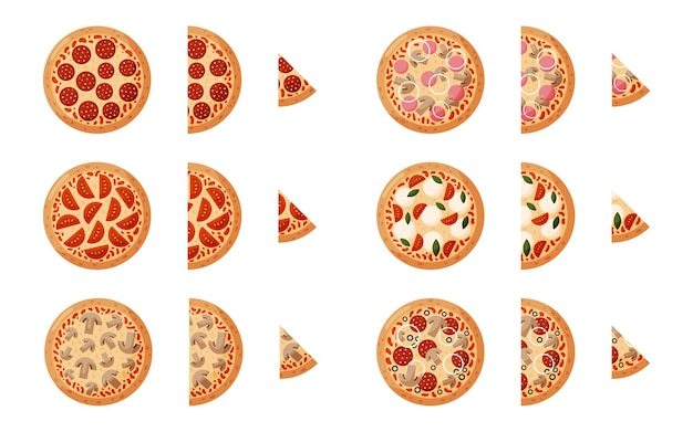Stel pizza met pepperoni tomaten uien olijven champignons ham izolated