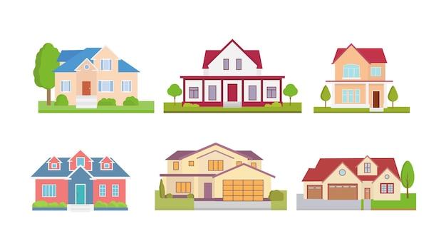 Stel plat pictogrammen van huizen en gebouwen geïsoleerd
