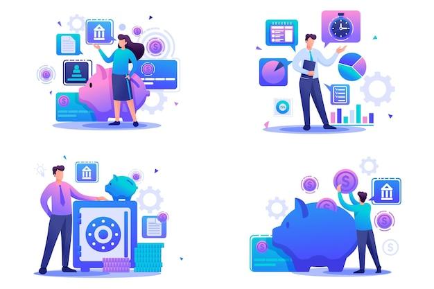 Stel platte 2d-concepten bankdeposito's, investeringsplan, tijdbeheer in. voor concept voor webdesign.