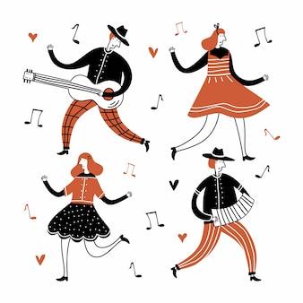 Stel platte elementen van volksdans in met jazzmuziekinstrument in kinderlijke stijl