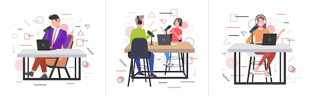 Stel podcasters in gesprek met microfoons opname podcast in studio podcasting online radio concepten verzameling volledige lengte horizontaal
