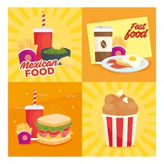 Stel poster, heerlijk fastfood in
