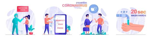 Stel preventie coronavirus platte ontwerp concept illustratie van personen karakters