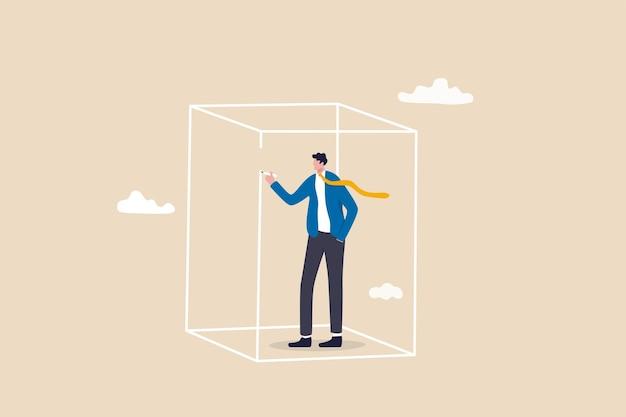 Stel privacyzone in, persoonlijke barrière om te focussen of werkgrens, ruimte om bij jezelf te zijn concept, introverte zakenman tekendoos om privacyzone of grens te bedekken om te beschermen tegen afleiding.