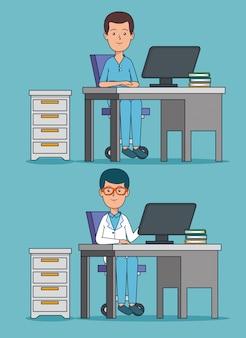 Stel professionele artsenbureau met computer in het bureau