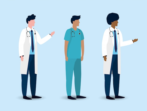 Stel professionele mannen artsen met een stethoscoop
