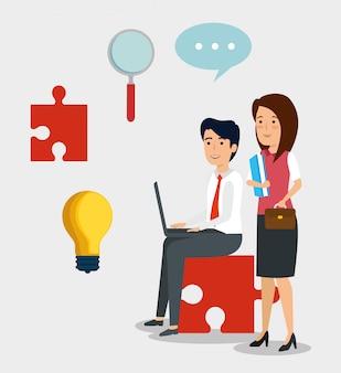 Stel professionele ondernemers met lamp idee en document