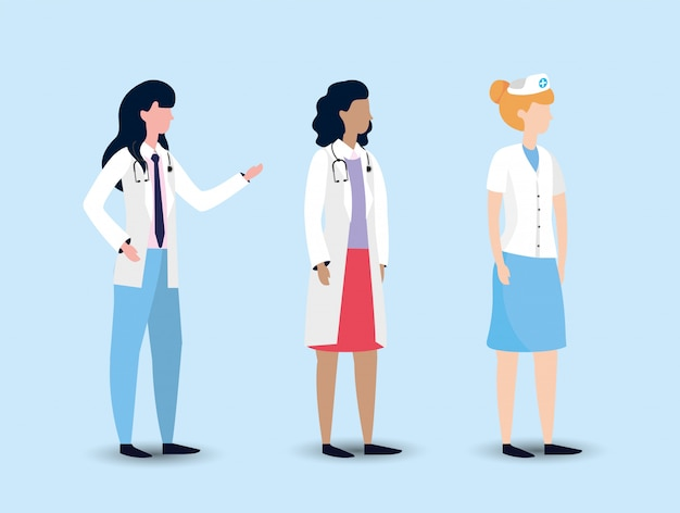 Stel professionele vrouw artsen en verpleegster