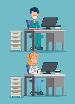 Stel professionele vrouw en man artsen in op kantoor