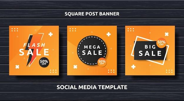 Stel promotie sociale media vierkante banner in