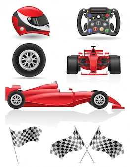 Stel racewagen, vlaggen en elementen vector illustratie
