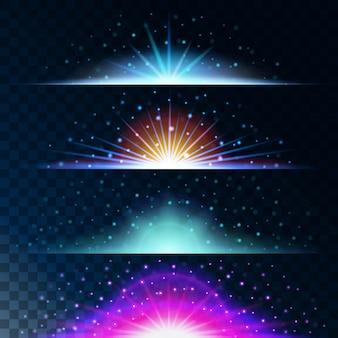 Stel realistische lichteffecten in. gloeiende ster. licht en glitter. glanzende blauwe rand magische ballen. abstract
