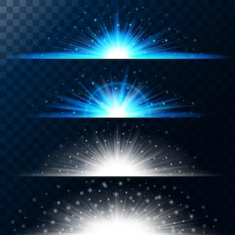 Stel realistische lichteffecten in. gloeiende ster. licht en glitter. glanzende magische rand van gele ballen.