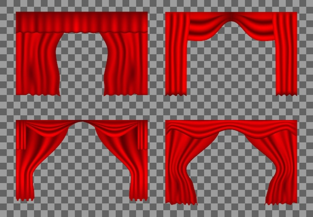 Stel realistische theatergordijnen rood in