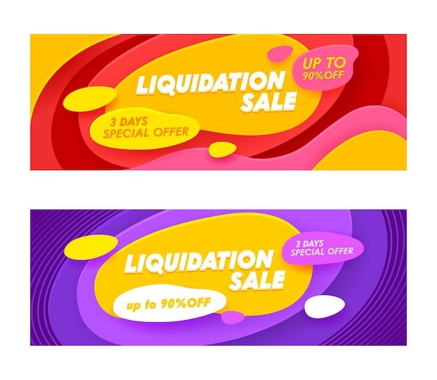 Stel reclamebanners in met typografie voor liquidatieverkoop.