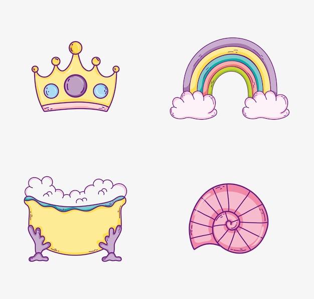 Stel regenboog in met kroonaccessoire en badkuip