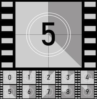 Stel retro film film in. countdown frames timer universele teller met getallen.