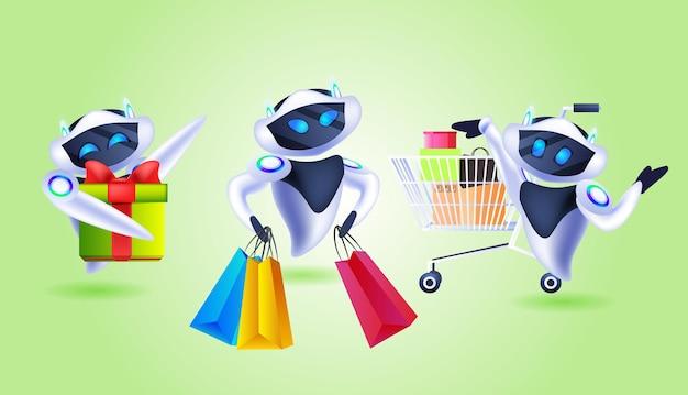 Stel robots in met boodschappentassen en geschenken speciale aanbieding winkelen verkoop kunstmatige intelligentie concept horizontale vectorillustratie