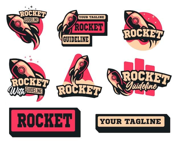 Stel rocket mascot-personage apollo in