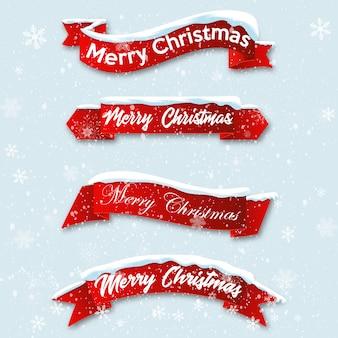 Stel rode realistische gebogen lint merry christmas