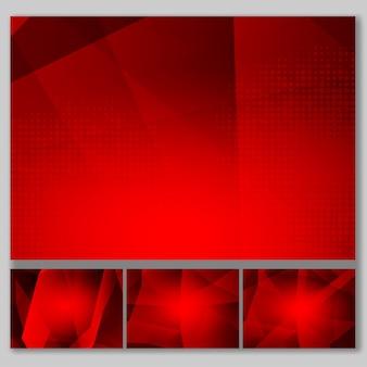 Stel rode veelhoek abstracte achtergrond in
