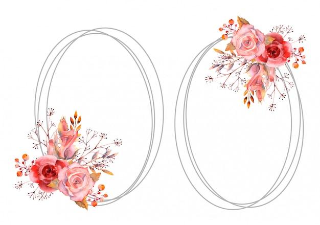 Stel roze aquarel rozen in een rond frame op een geïsoleerde wit.