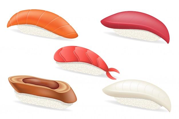 Stel ruwe japanse sushi vectorillustratie
