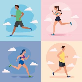 Stel scènes in van joggen, rennende mensen