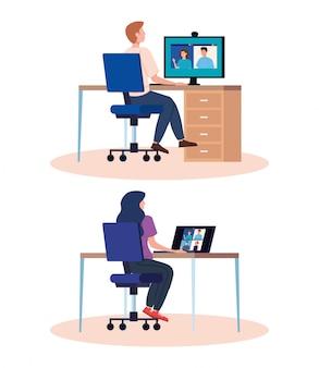 Stel scènes in van mensen in videoconferentie