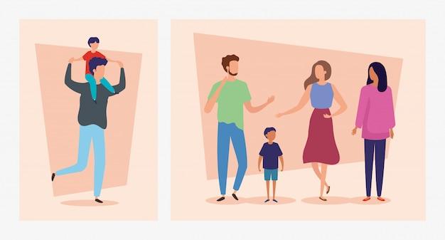 Stel scènes met vader dragende zoon op schouders en mensen