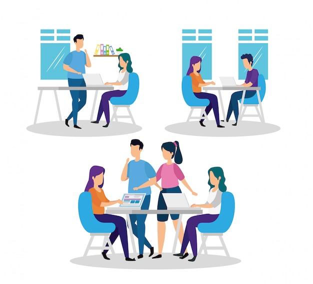 Stel scènes van coworking in met pictogrammen