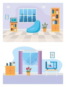 Stel scènes van de woonkamer in met meubels en decoratie