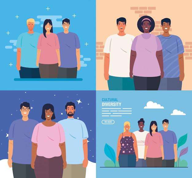 Stel scènes van multi-etnische mensen samen, cultureel en diversiteitsconcept