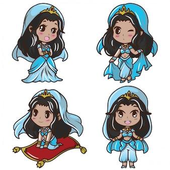 Stel schattig meisje in arabische prinses kostuum., sprookje cartoon concept.