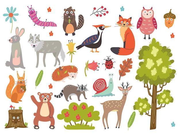 Stel schattige bosdieren in