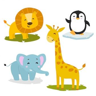 Stel schattige dieren collectie