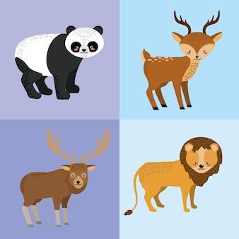 Stel schattige dieren en natuurlijke dieren in