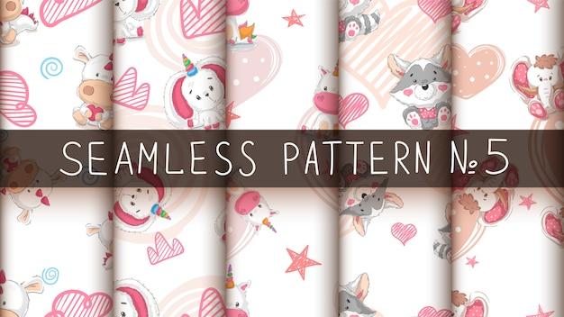 Stel schattige dieren - naadloos patroon