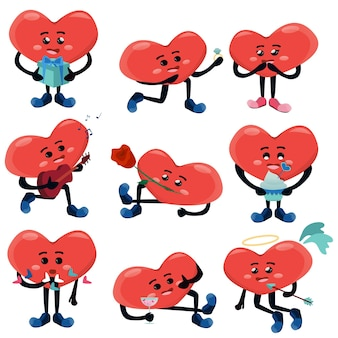 Stel schattige gehumaniseerde harten verschillende acties paar illustratie